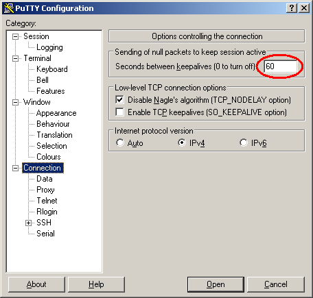 putty-timeout